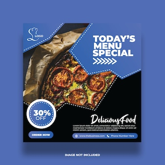 Restaurant delicious abstract food social media post colorful promotion template