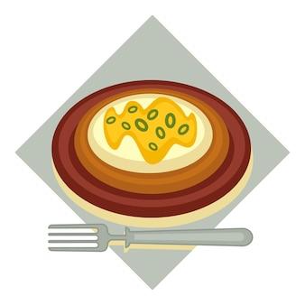 Ресторанные блюда и традиционная национальная кухня турции. менемен или омлет с кружочками зеленого лука. жареное или вареное яйцо подается на тарелке с вилкой. питание с едой. вектор в плоском стиле