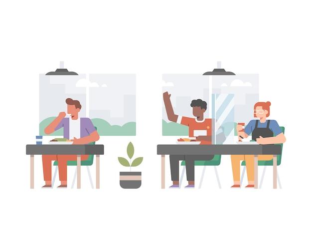 社会的距離を隔て、顧客の間に境界ガラスを設置して、コロナウイルスのパンデミックの真ん中のイラストで安全プロトコルを実施しているレストラン