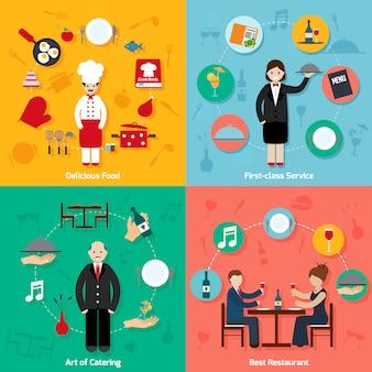 Restaurant elements composition set