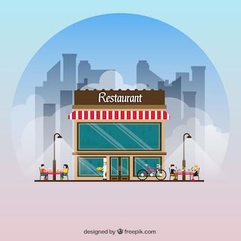 Restaurant facade background