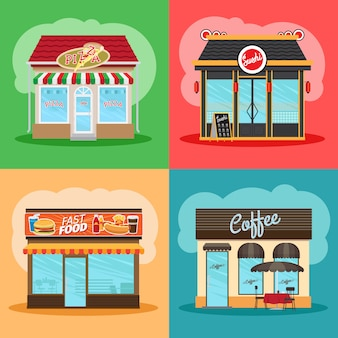 Restaurant or fast food store front set