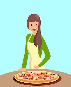 Restaurant female chef offering pizza illustration