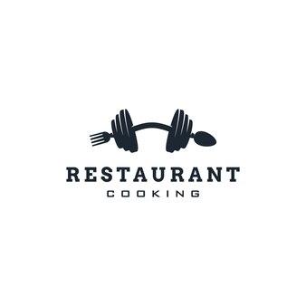 フォークスプーンとバーベルのシンボルスポーツの概念を持つレストランフィットネスジムのロゴデザイン
