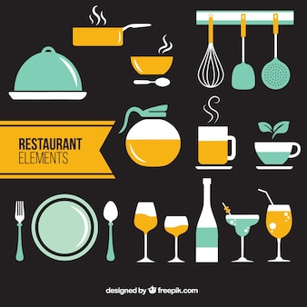 Restaurant flat elements in two colors