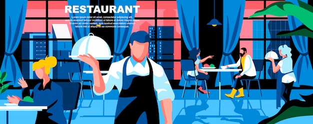 Restaurant flat landing page template banner layout.