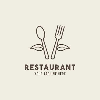 레스토랑 평면 스타일 디자인 기호 로고 그림 서식 파일