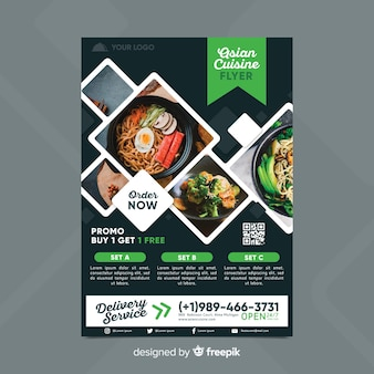 Restaurant flyer template with photo