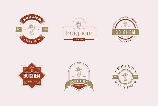 Значок ресторана еда премиум векторный набор логотипов