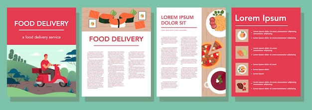 Restaurant and food delivery advert banner set. european and asian cuisine. tasty food for breakfast, lunch and dinner. food delivery booklet or flyer.   illustration