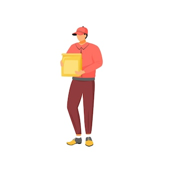 Restaurant food deliveryman, male courier with paper package flat color faceless character. takeaway, meals delivery service isolated cartoon illustration for web graphic design and animation