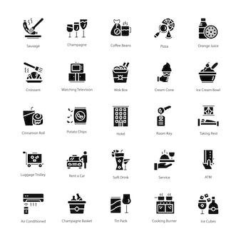 Restaurant and food glyph vector icons