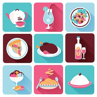 Restaurant food icons flat