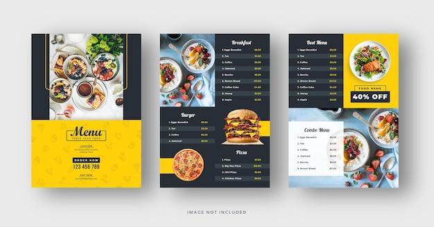 Restaurant food menu and flyer template