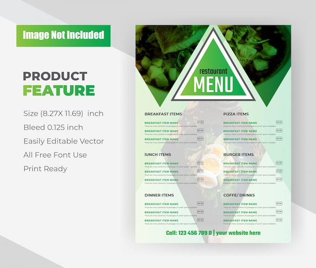 Restaurant food menu flyer template.