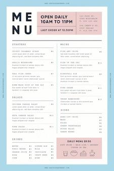 Шаблон меню ресторана для цифрового использования с иллюстрациями