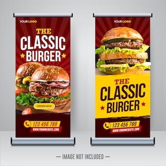Restaurant food roll up or x banner template
