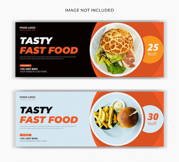 レストランの食品販売ソーシャルメディア投稿facebookカバーページタイムラインweb広告バナーデザイン