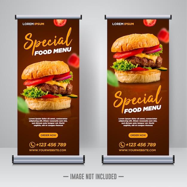レストラン食品ソーシャルメディアバナー投稿デザインテンプレート