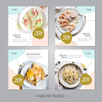 Restaurant food social media banner post   template