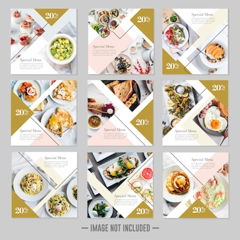 Restaurant food social media post template banners
