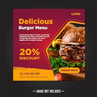 Restaurant food social media post template square banner