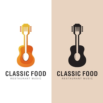 Restaurant food with classic music song logo. dinner with music logo design   template