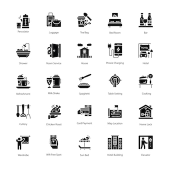 Restaurant glyph vector icons set