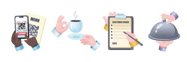 Restaurant graphic concept hands set. human hands holding mobile phone scanning menu code, cup of coffee, waiter writes down customer order, serves dish. vector illustration with 3d realistic objects
