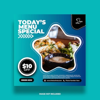 Restaurant healthy menu special creative social media abstract post template