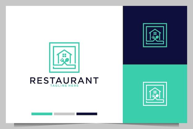 フォークとスプーンのロゴデザインのレストランの家