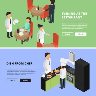Restaurant interior. food kitchen bar cafe showcase eating room dinning peoples fast food banners with  pictures isometric