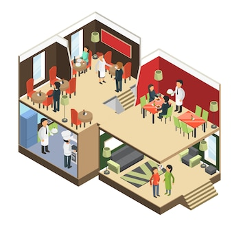 Restaurant interior. isometric bar cafe buffet building with eatting guests 3d pictures