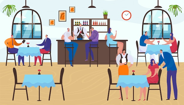 Restaurant interior, people group man woman sitting in bar,  lifestyle  illustration. people character drink at cafe table,  person talking. happy pub friends meeting together.