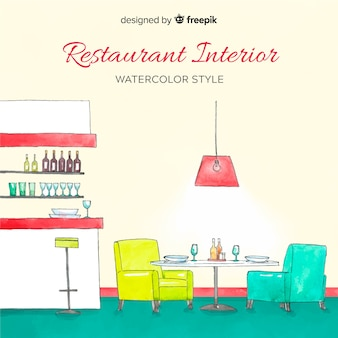 Restaurant interior with watercolor style