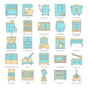 Restaurant kitchen equipment icon set