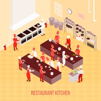 Restaurant kitchen isometric composition in beige tones with chefs, tables for preparation, ovens, trash containers