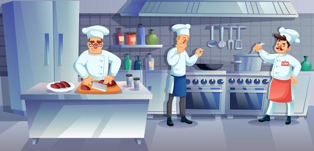 Ресторан кухня персонал характер приготовления пищи. профессиональная команда шеф-повара готовит ужин, варит суп, нарезку мяса, приправляет блюдо. мебель интерьерная, посуда. услуги коммерческого питания