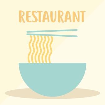 Ресторанная надпись с тарелкой с лапшой и двумя палочками для еды