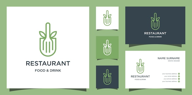 レストランのラインのロゴ、葉とフォークのロゴのテンプレート