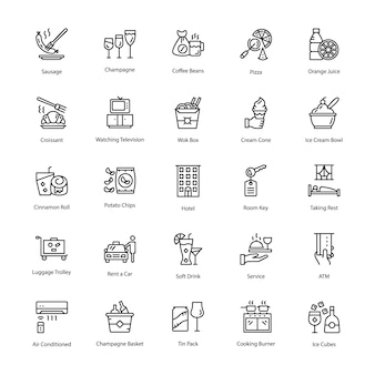 Restaurant line vector icons pack