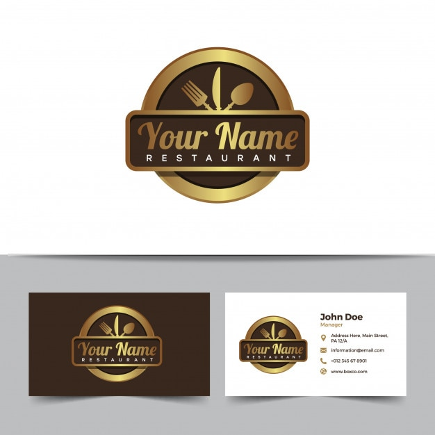 Restaurant logo and business card template