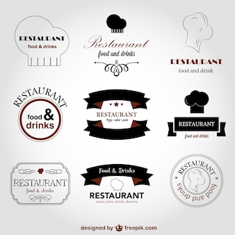 Restaurant logo collection with chef hats