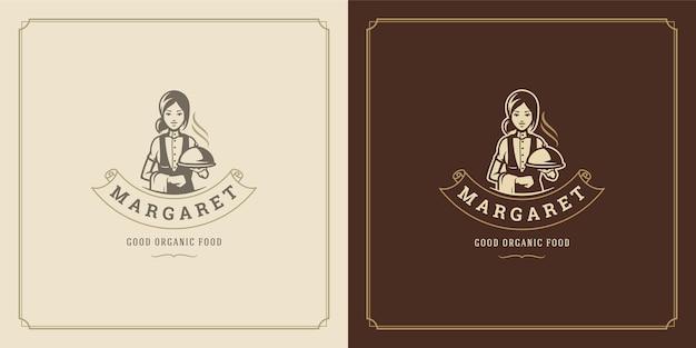 クローシュトレイシルエットを保持しているレストランのロゴデザインイラストウェイトレス