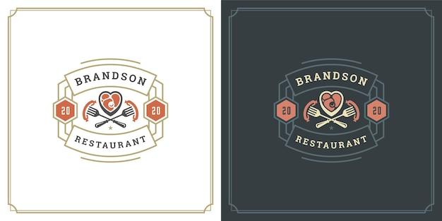 Ресторан логотипа дизайн векторные иллюстрации мясо стейк силуэт