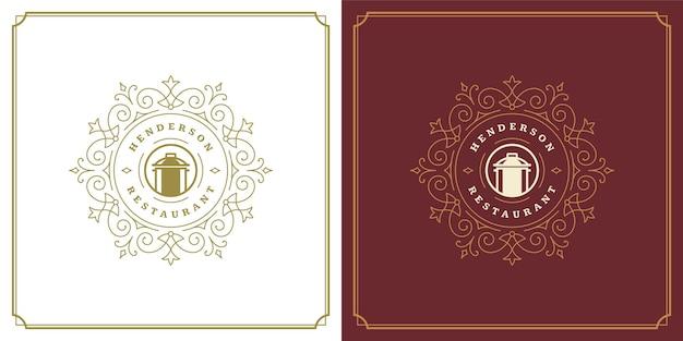 Ресторан логотипа дизайн векторные иллюстрации пан силуэт