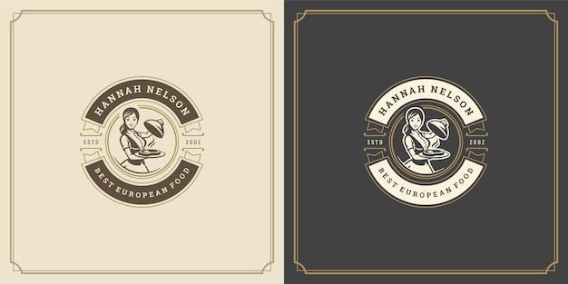 Ресторан логотипа дизайн векторные иллюстрации официантка держит силуэт подноса cloche