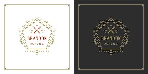 レストランのロゴイラストは、レストランのメニューやカフェのバッジに適したシルエットをフォークします。装飾とシンボルのヴィンテージタイポグラフィエンブレムテンプレート。