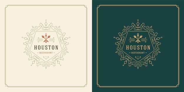 Иллюстрация логотипа ресторана силуэты кухонных инструментов, подходящие для меню ресторана и значка кафе.