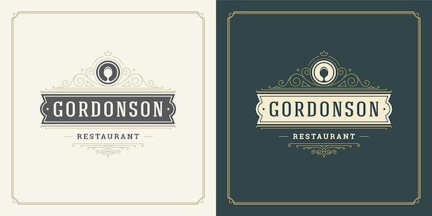 レストランメニューやカフェバッジに最適なレストランロゴイラストスプーンシルエット。